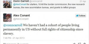 """Conant's remark elicited an immediate response, as Carroll objected to being compared to a """"slave owner."""""""