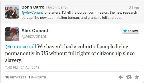 "Conant's remark elicited an immediate response, as Carroll objected to being compared to a ""slave owner."""
