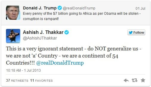 Donal Trump Comments About Africa On Twitter