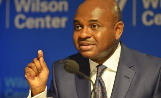 Dr. Kingsley Moghalu speaking at the Woodrow Wilson Center in Washington, D.C.