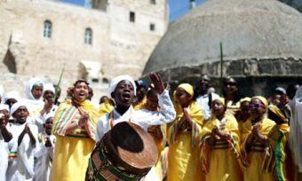 Easter celebrations outside the Ethiopian Orthodox church in Jerusalem, where Guebrù has lived since 1984.