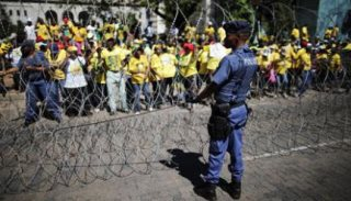 South African Police Fire Rubber Bullets At ANC Supporters