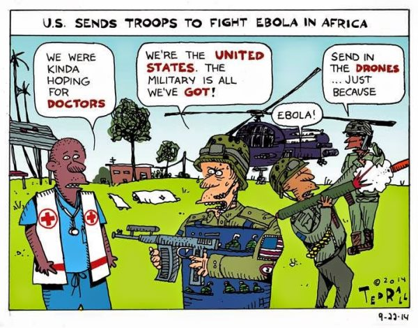 In complete contrast to the imperialist policy of the USA and Britain which in the midst of the Ebola crisis have ceased the opportunity to send new troops to West Africa,