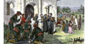 California Mission With Soldiers And Slaves