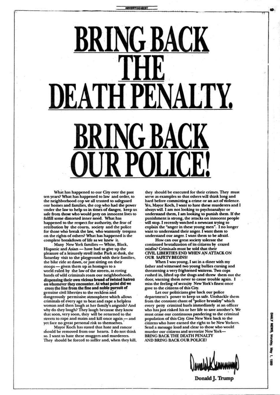Donald Trump And The Central Park Five