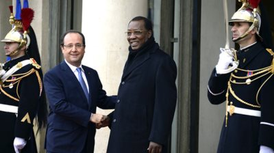 French President Francois Hollande greets Chad President Idriss Deby, in a past visit to Paris.