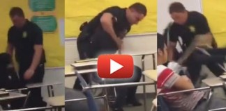 VIDEO: Thug Cop Violently Attacks Peaceful High School Girl As She Sits At Her Desk