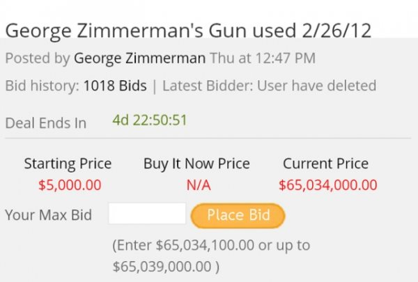 George Zimmerman Set For Big Payday For Murder Weapon Thanks To The US Justice System