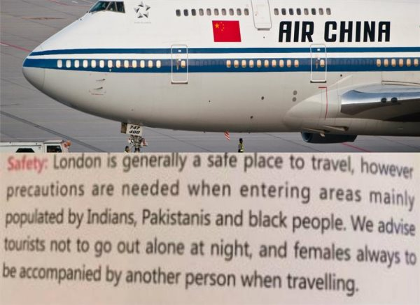 Air China Warns Travelers To Watch Out For Neighborhoods Populated By Black People