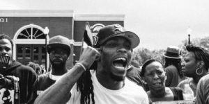 Darren Seals protesting with Black Lives Matters in Ferguson