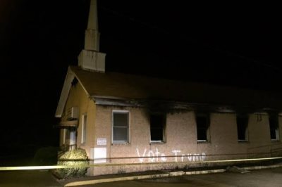 Black Church Set Ablaze, Vandalized With 'Vote Trump'