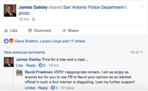 "According to the Austin Statesman, County Judge James Oakley is under fire for typing ""Time for a tree and a rope"" under a mugshot of accused cop-killer Otis Tyrone McKane, who was arrested on Monday in San Antonio and charged with the shooting death of police Det. Benjamin Marconi."