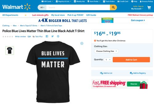 Walmart Removes Black Lives Matter Shirt From Its Website After Police Pressure